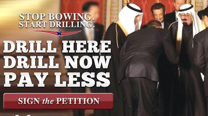 Werbung auf Gingrichs Webseite: Obama, wie er sich vor den Scheichs verbeugt.