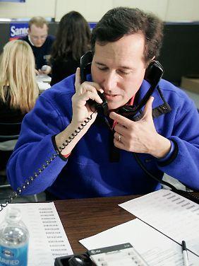 Am Telefon werben auch die Kandidaten selbst um Unterstützung, wie hier Santorum bei seiner Senatswahl 2006.