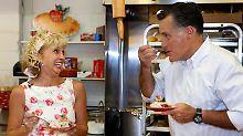 Kuchen für den Kandidaten: Romney in Michigan.