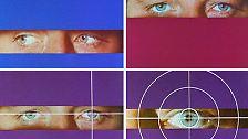Die Blauen Augen Blicken Ins Wohnzimmer Ein Weisses Fadenkreuz Umschliesst Linke Iris