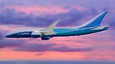 Hier sehen Sie eine computeranimierte Simulation des neuen Langstreckenjets der Boeing 787-Familie.