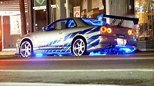 ... der gepimpte Nissan Skyline GT-R R34 vom Undercover-Bullen Brian O'Conner gespielt von Paul Walker daher. Schon in der Variante von Nissan hat der einen 2,5-Liter-Turbobenziner, der 280 PS leistet.