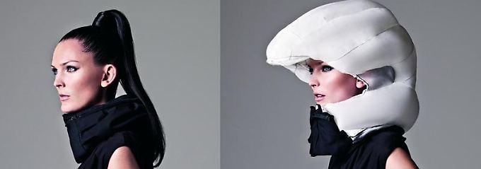 Vielleicht ja eine Alternative für Helmmuffel: Der Hövding wird wie ein Schal um den Hals getragen - bei einem Unfall legt sich ein Airbag um Kopf und Nacken.