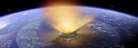 Diese Illustration soll den Asteroideneinschlag zeigen, der vor 65 Millionen Jahren die Dinosaurier ausrottete. Auch vor etwa 360 Millionen Jahren war es zu einem weitreichenden Artensterben gekommen.