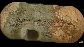Das Bohrloch ist 6,4 Zentimeter tief und hat einen Durchmesser von 1,6 Zentimetern.