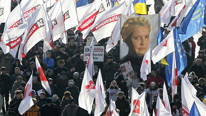 Bereits im Februar gab es Unterstützungs-Kundgebungen für Julia Timoschenko