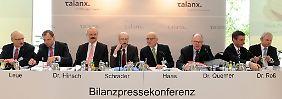 Die Vorstandsmitglieder der Versicherungsgruppe Talanx bei der Bilanzpressekonferenz in Hannover.