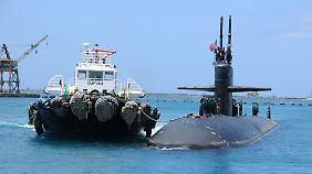 Das Atom-U-Boot USS San Francisco liegt in der U.S. Marine-Basis auf der Insel Guam.