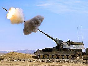 Hightech-Waffe aus Deutschland: Die Panzerhaubitze 2000 schießt bis zu 40 Kilometer weit.