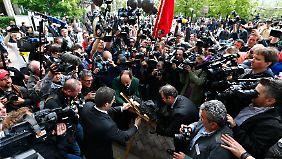 Rund um das Münchner Gerichtsgebäude herrschte ein gigantisches Medieninteresse.