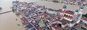 Die Altstadt von Passau ist überflutet.