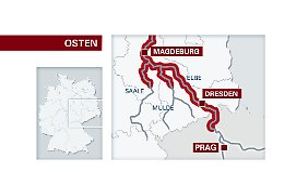 Aus Prag kommend schiebt sich das Hochwasser durch den Osten Deutschlands die Elbe abwärts.