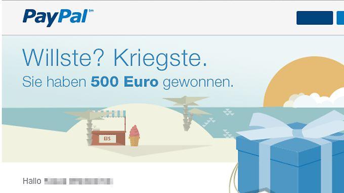 Die Gewinnbenachrichtigungs-E-Mail ist zwar echt, Geld von Paypal sehen die Empfänger aber nicht.