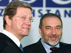 Die Amtskollegen Westerwelle und Lieberman erörtern das Thema.