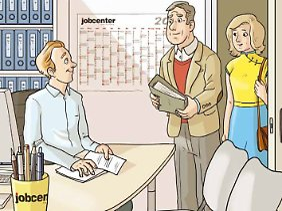 Stets gut gelaunt und zu Diensten: der Jobcenter-Mitarbeiter Ihres Vertrauens.