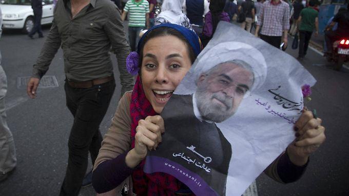 Nach der Wahl Ruhanis wurde auf den Straßen Teherans gefeiert.