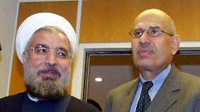 Ruhani als Atom-Unterhändler mit Mohammed ElBaradei, der damals Chef der IAEA war.