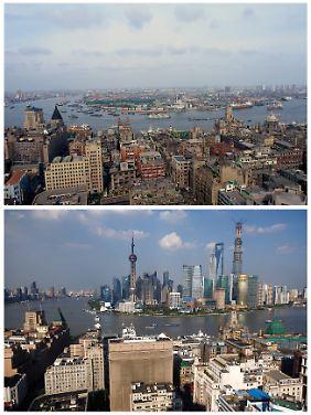 Die Zeiten ändern sich: Ansicht des Schanghaier Finanzviertels von 1987 und 2013.