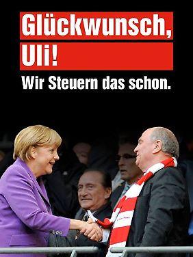 Eine Klatsche für Merkel und Hoeneß: Die Karte der Jusos.