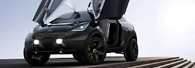 Geflügelte Studie:Sollte es das Mini-SUV Kia Niro wirklich in die Serienproduktion schaffen, fallen die Scherentüren mit großer Sicherheit weg. Foto: Kia