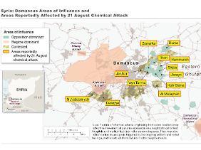 Diese von der US-Regierung veröffentlichte Karte zeigt, welche Gebiete in Damaskus von dem Giftgasangriff betroffen sein sollen.