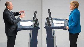 Alle wichtigen Köpfe der Parteien dürfen mal ran - doch die Debatte steht im Zeichen des Duells Steinbrück gegen Merkel.