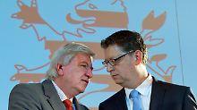 Die Eintracht täuscht: Volker Bouffier (CDU) und Thorsten Schäfer-Gümbel (SPD) sind Kontrahenten.
