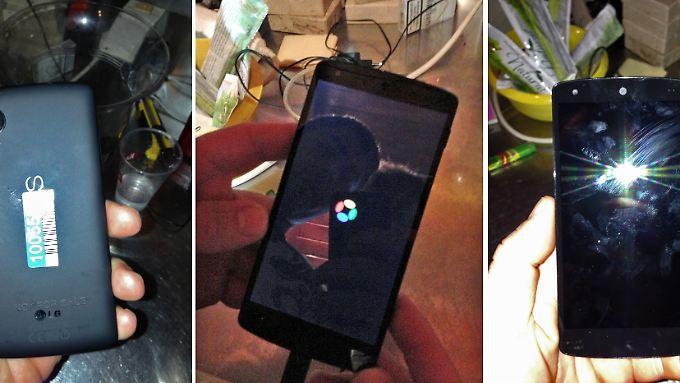 Wenn das mal keinen Ärger gibt: Der Barkeeper, der das Nexus 5 fotografiert hat, ist nach etwas Photoshop-Arbeit auf dem mittleren Bild gut zu erkennen.