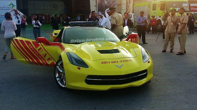 Die Corvette als knallgelbes Spielmobil.