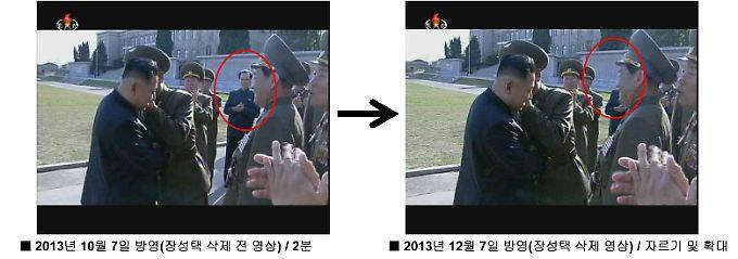 Ein Video wurde so bearbeitet, dass Jang Song Thaek nicht mehr zu sehen ist. Klicken Sie hier, um alle Bildausschnitte zu sehen.
