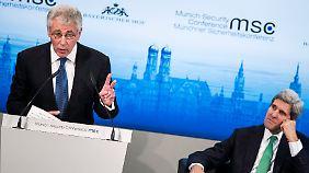 Die NSA-Affäre blendeten sowohl US-Verteidigungsminister Hagel (l.) als auch Außenminister Kerry geflissentlich aus.