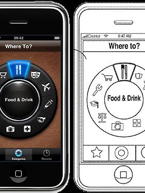Links die App, rechts die Patentzeichnung.