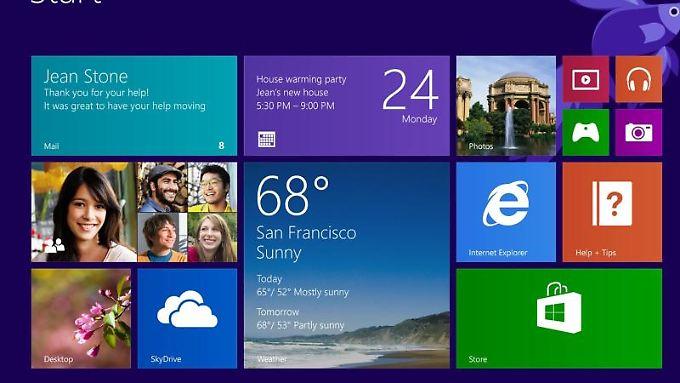 Der Startscreen von Windows 8.1 - was ändert sich bei einer Gratisversion?