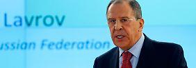 Der Russe Lawrow verteidigt in Genf das Vorgehen seines Landes als Kampf für die Menschenrechte.