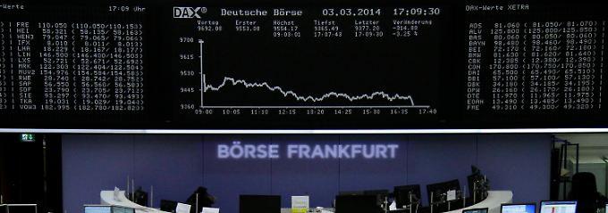 Konkrete Aussichten auf einen größeren Krieg: Die Dax-Kurve kriecht nah an der Unterkante der Anzeigetafel.