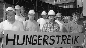 Kumpel in Bischofferode streiken für den Erhalt des Werkes.