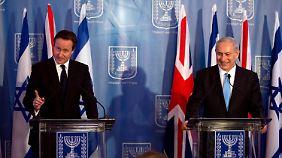 """Cameron nimmt bei seinem Besuch in Israel kein Blatt vor den Mund: """"Lassen Sie es mich ganz deutlich sagen: Wir verurteilen diese Angriffe ganz und gar."""""""