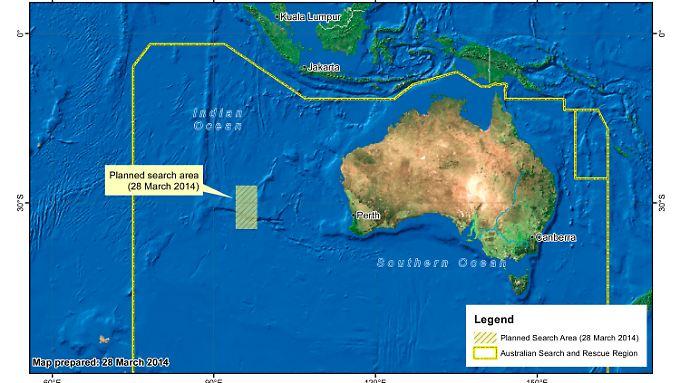 Die Karte zeigt die neu ausgewiesene Suchregion. Sie liegt 1100 Kilometer weiter nordöstlich als die vorher vermutete Absturzstelle.