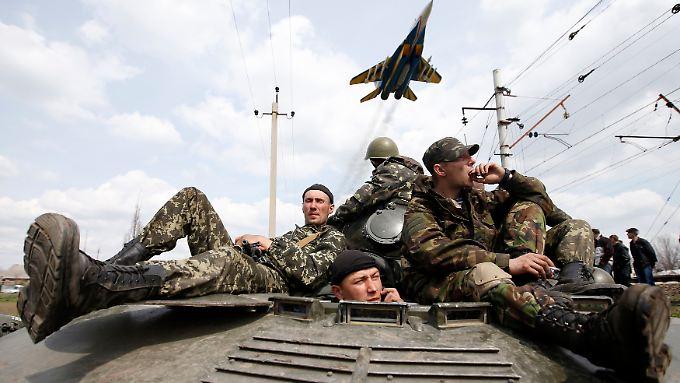 Ukrainische Soldaten halten die Stellung in Kramatorsk.