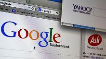 Die Webseiten der Internet-Suchmaschinen Google, Yahoo, bing und Ask. Foto: Karl-Josef Hildenbrand