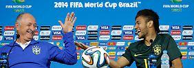 Wollen den sechsten WM-Titel für Brasilien holen: Trainer Luiz Felipe Scolari und Stürmer Neymar.