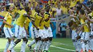 Grund zum Tanzen haben die Kolumbianer. Sie stehen nach dem zweiten Vorrundensieg in der K.o.-Runde.