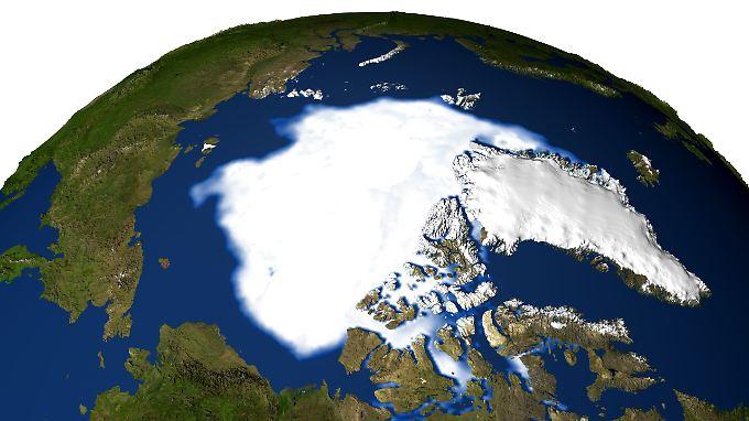 Der Klimawandel in der Arktis hat auch Vorteile - für Frachtschifffahrt und Rohstoffförderung, Die Satellitenaufnahme zeigt die Eisfläche am Nordpol.