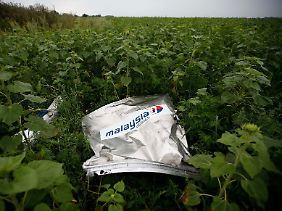 Ein Trümmerteil von MH17 in einem Feld nahe dem Städtchen Rozsypne in der Ostukraine.