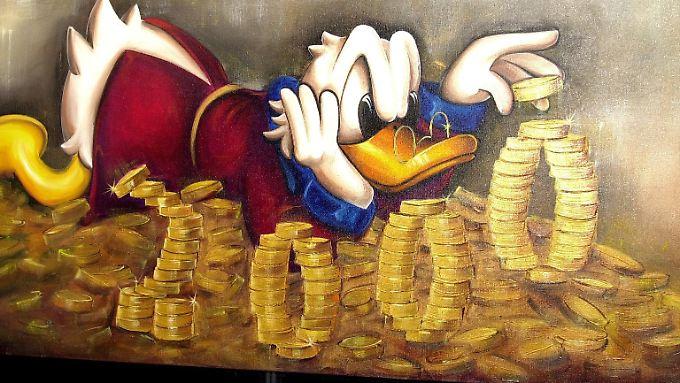 Dagobert badet in Münzen, nicht in Scheinen. Da ist die Keimbelastung eine andere.