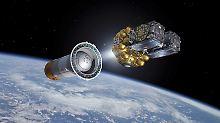 Simulation der Satelliten Fünf und Sechs.