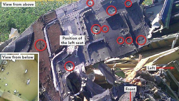 Schuldfrage nicht geklärt: Flug MH17 in der Luft von Objekten durchlöchert