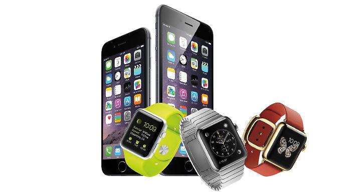 Das iPhone 6, das iPhone 6 Plus und die Apple Watch in drei Varianten.