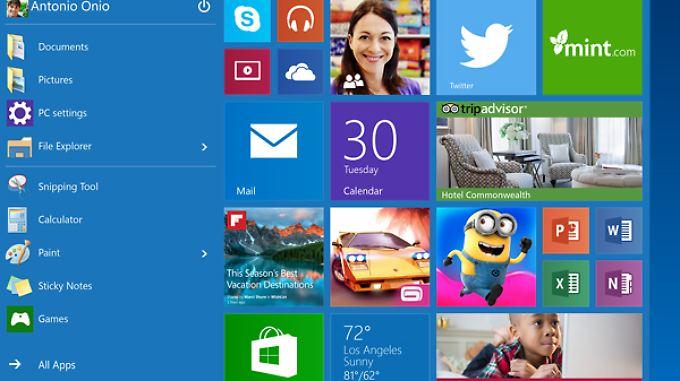 Mit Windows 10 kehrt das Startmenü mit einer neuen App-Abteilung zurück.
