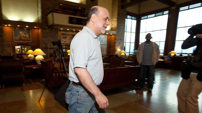 Ben Bernanke ganz leger auf dem Jahrestreffend er Topbanker in Jackson Hole.